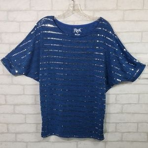 Rock 47 by wrangler blue sequined blouse size S